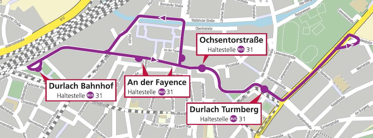 Fahrtroute SEV_Durlacher Altstadtfest 2019 © OpenStreetMap - Mitwirkende
